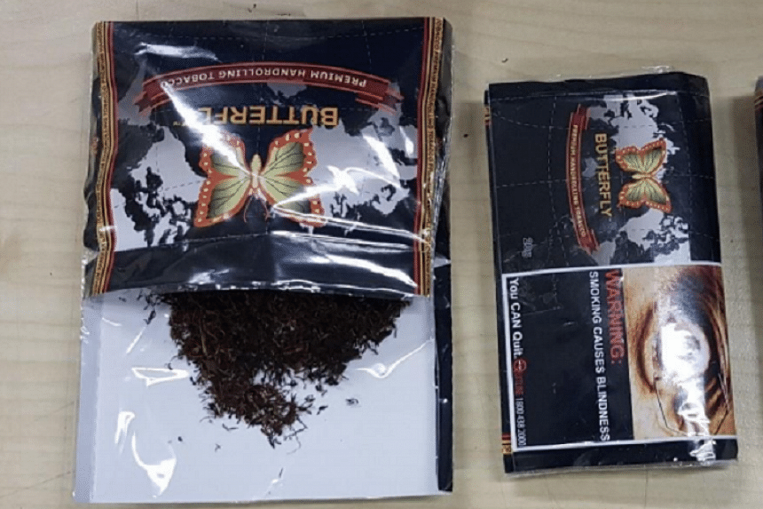 Plastic packets of suspected new psychoactive substances disguised as tobacco product for sale.