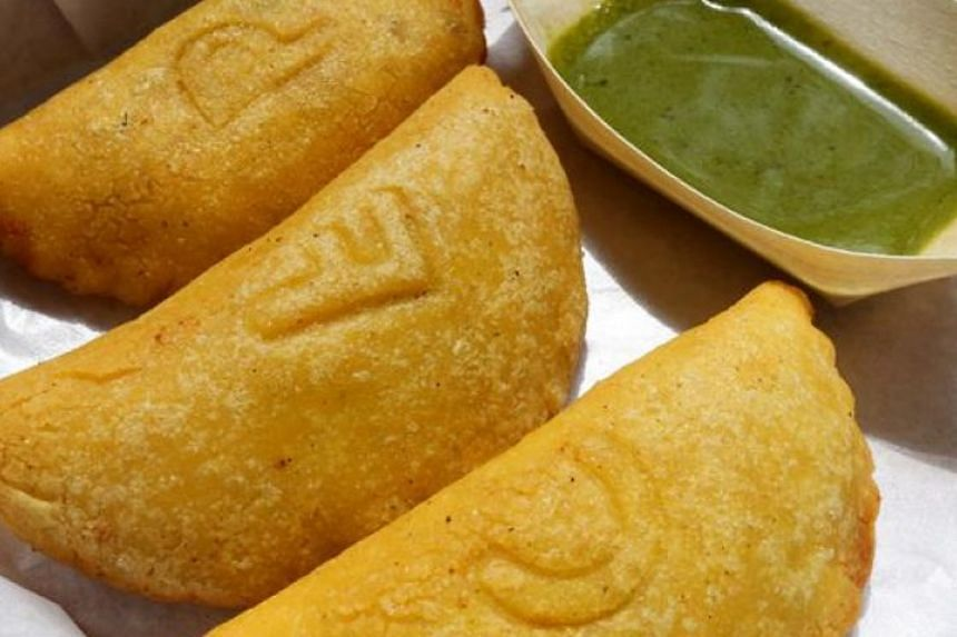 Empanadas, made from yellow maize flour imported from Venezuela, with various fillings.
