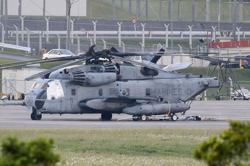 Last month, a window from a US military helicopter fell onto a school sports ground near the Futenma marine air base in Okinawa.