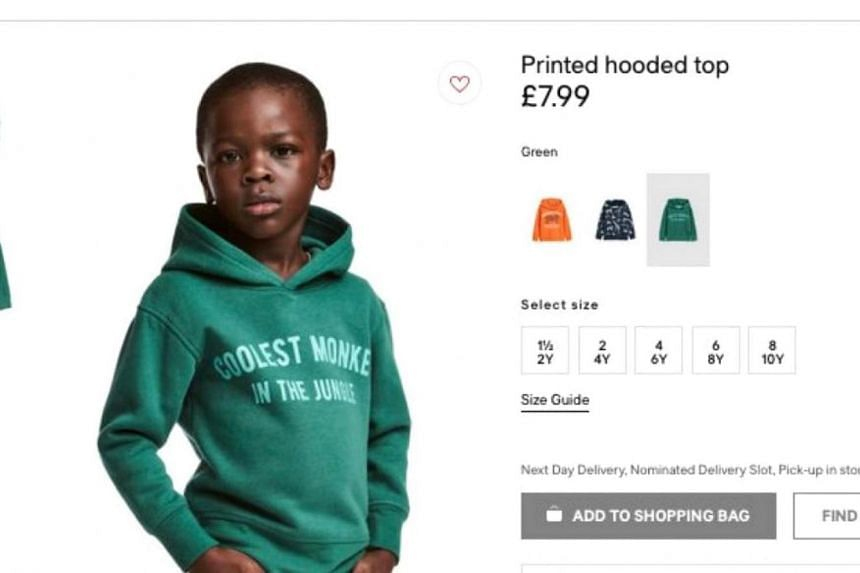 """A photo on the company's website of a black boy wearing a green hoodie with the inscription """"coolest monkey in the jungle"""" triggered outrage among observers."""