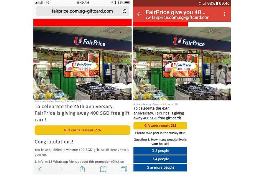 The new scam invites people to click on a link in a message claiming that FairPrice is giving away gift cards for its 45th anniversary.