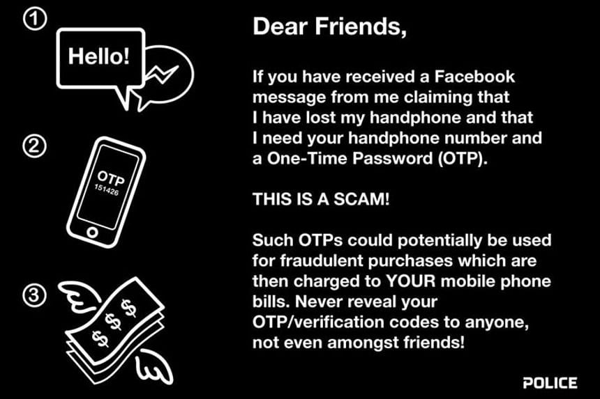 The warning posted by the police on Facebook yesterday. The police said it received 130 such cases between January and November last year, with at least $16,000 in total lost to scammers.