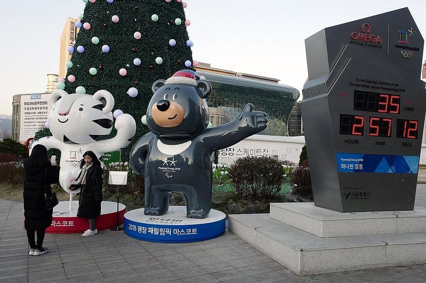 Mascots for the 2018 Winter Olympic Games, to be held in Pyeongchang, South Korea. Unification Minister Cho Myoung Gyon, who is heading South Korea's five-member delegation for the inter-Korean talks today, said its main focus would be the Games next