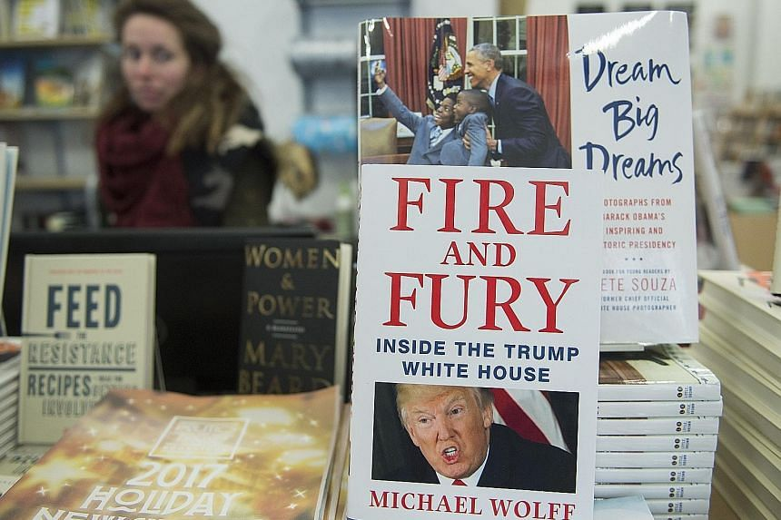 Journalist Michael Wolff's new book on Mr Donald Trump on display in a Washington bookstore. Former chief strategist Stephen Bannon was quoted in the book as saying that a June 2016 meeting with a group of Russians attended by Mr Donald Trump Jr and