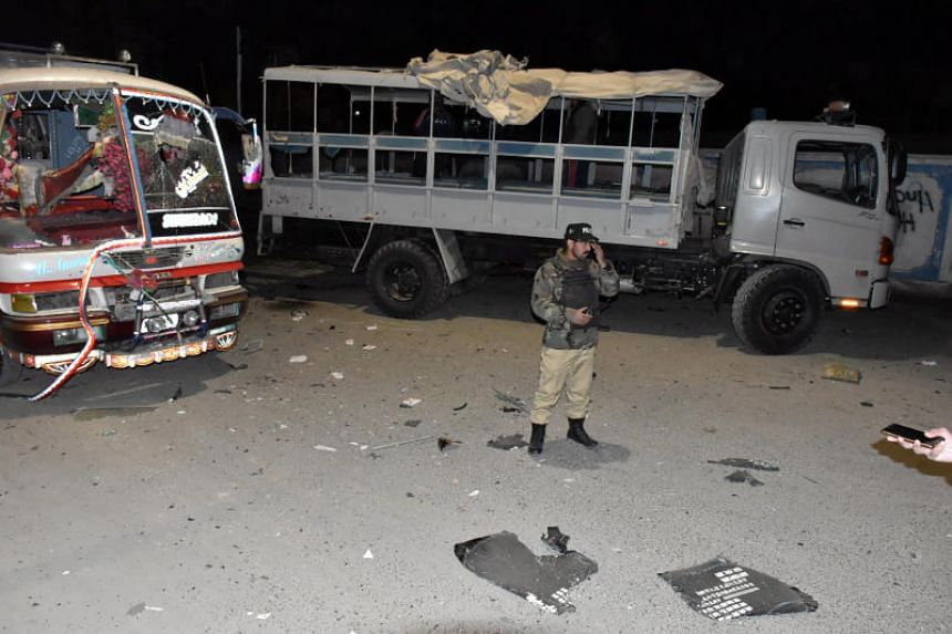 A soldier stands at the scene of a blast targeting a police truck in Quetta, Pakistan on Jan 9, 2018.
