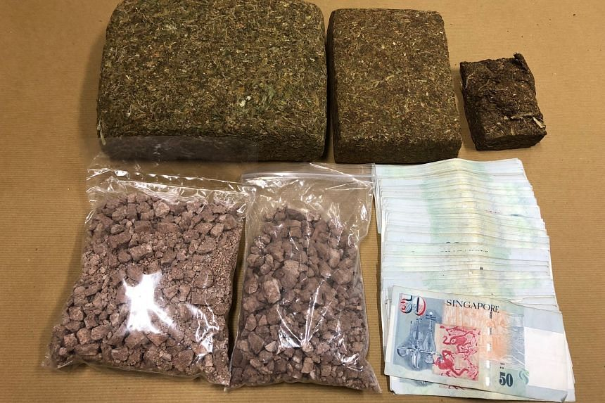 Cannabis, heroin and cash seized during an operation in Evans Road on Jan 8.