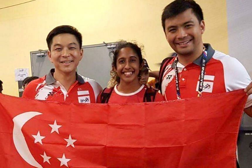 Former national water polo vice-captain Yip Renkai (right) with SNOC president Tan Chuan-Jin and national sprinter Shanti Pereira at the 2017 KL SEA Games. Yip will join Singapore Athletics as its general manager next month.