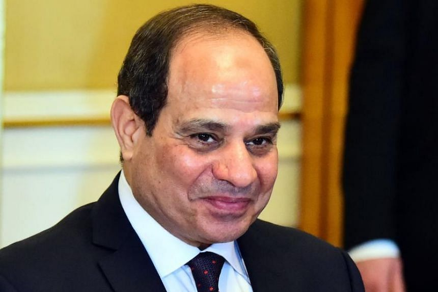 Egypt's President Abdel Fattah Al-Sisi at a visit to the presidential palace in Budapest on July 3, 2017.