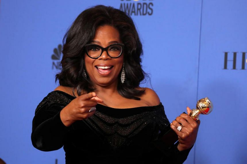 Oprah Winfrey poses backstage with her Cecil B. DeMille Award in Beverly Hills, California, US on Jan 7, 2017.