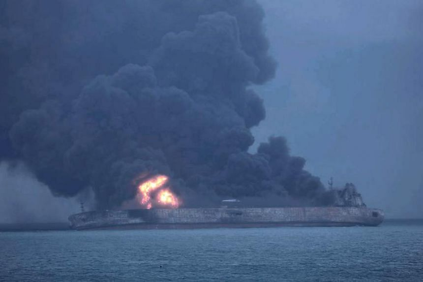 Panama-registered tanker Sanchi on fire after a collision with Hong Kong-registered freighter CF Crystal, off China's eastern coast, on Jan 7.