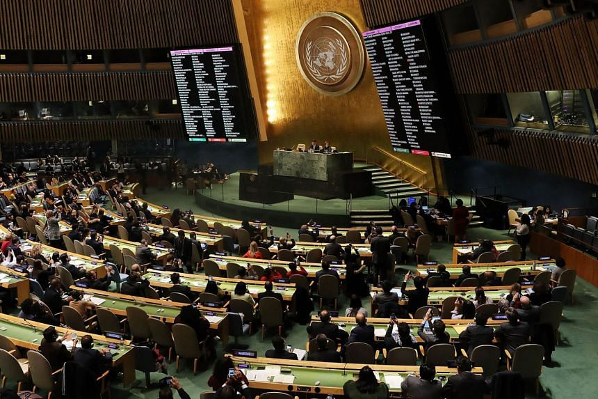 """Voting results are displayed during the United Nations General Assembly in New York, in which the United States declaration of Jerusalem as Israel's capital was declared """"null and void"""" on Dec 21, 2017."""