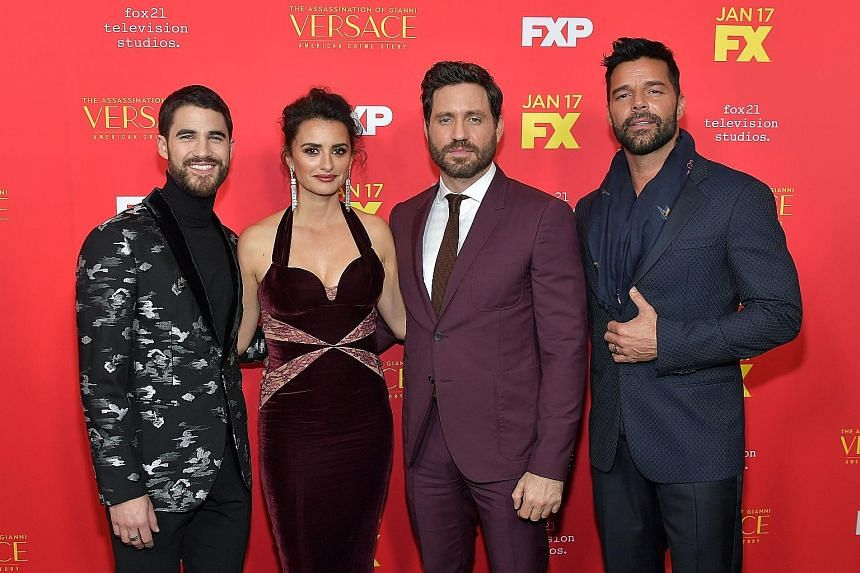 Cast members (from left) Darren Criss, Penelope Cruz, Edgar Ramirez and Ricky Martin attending the Monday Hollywood premiere of FX's The Assassination Of Gianni Versace: American Crime Story, which the Italian designer's family said it did not author