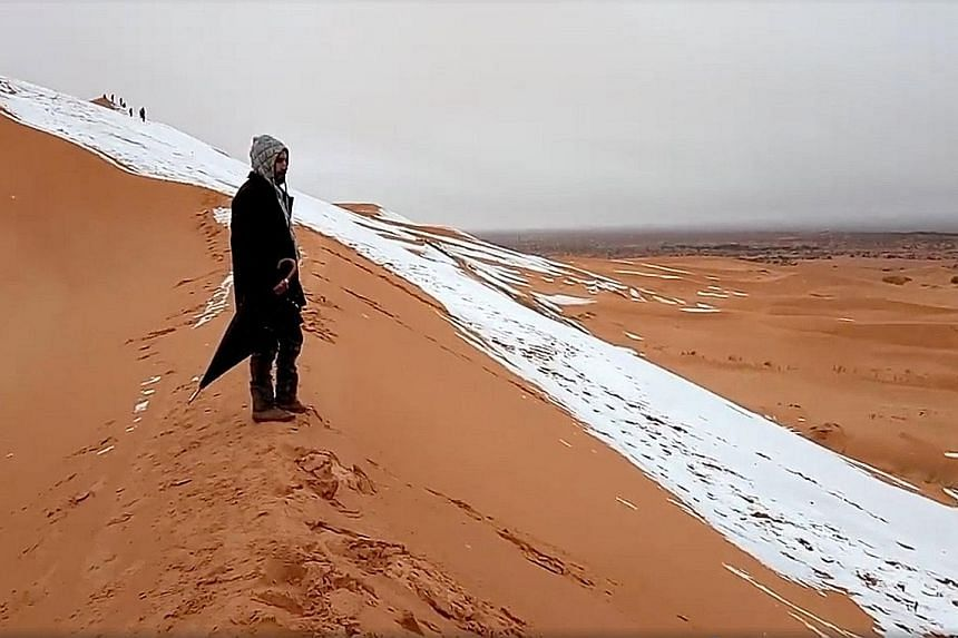 A man takes in the rare sight of snow on the sand dunes in Algeria on Sunday, when residents of the northern town of Ain Sefra enjoyed sliding down them, before the snow melted away.