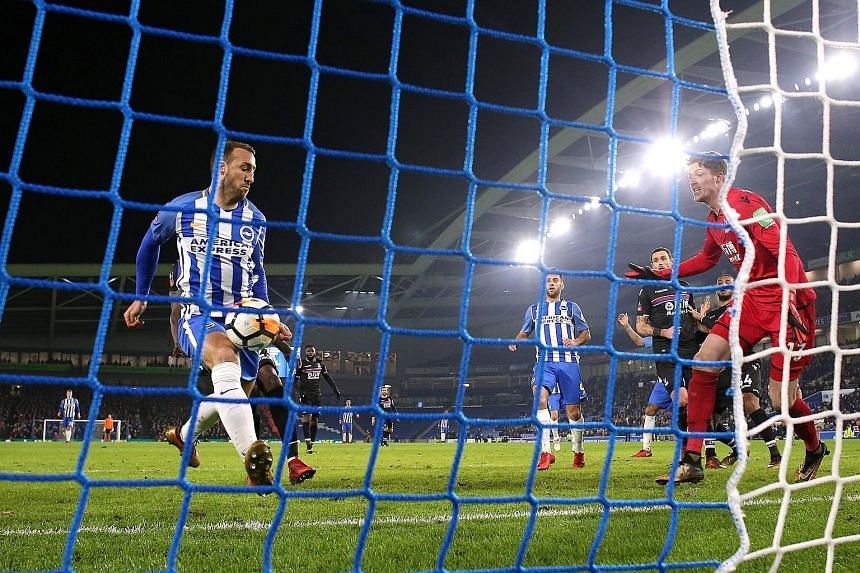 Brighton's Glenn Murray scoring his 87th-minute FA Cup winner against Crystal Palace on Monday. The VAR system corroborated referee Andre Marriner's decision to give the goal.