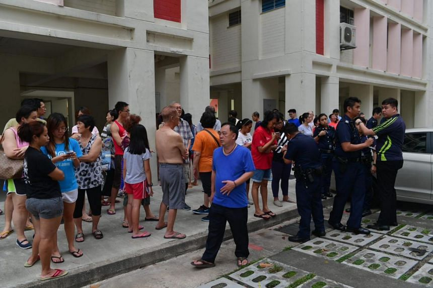 Police officers were seen updating residents on the situation.