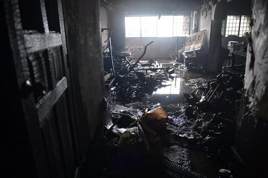 The burnt unit on the 15th floor of Block 45, Toa Payoh Lorong 5.