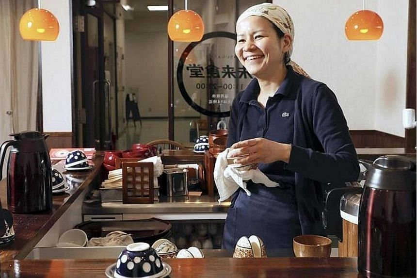 Ms Sekai Kobayashi, who runs Mirai Shokudo by herself, says more than 500 people have worked for a meal at her eatery.