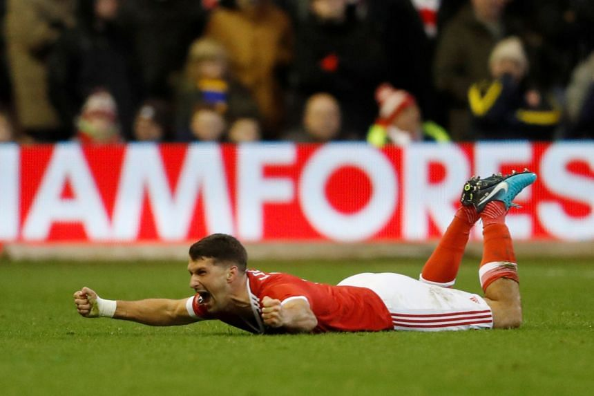 Nottingham Forest defender Eric Lichaj celebrating after scoring against Arsenal during their FA Cup match on Jan 7, 2018.