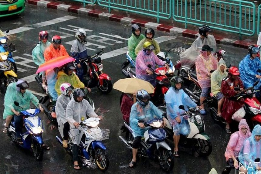 Several areas of Bangkok were flooded as torrential rain caused chaos on roads in the Thai capital on Jan 10, 2018.
