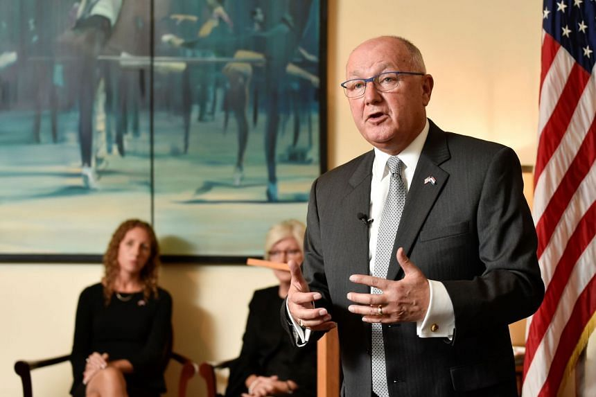 Hoekstra gestures as he speaks during a press conference at the US embassy, in The Hague.