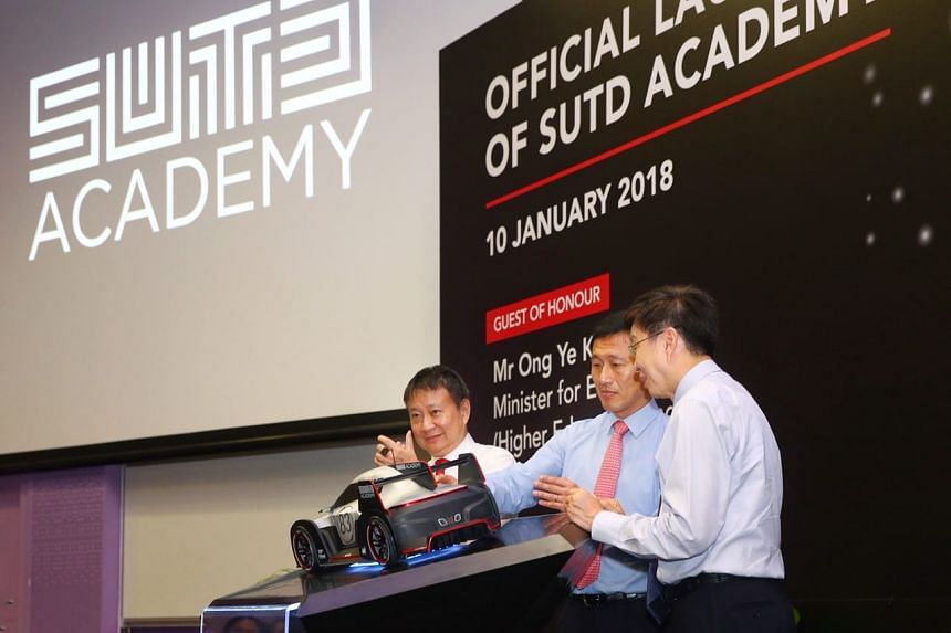 (From left), Mr Lee Tzu Yang, chairman of SUTD, Mr Ong Ye Kung, Minister for Education (Higher Education and Skills), and Professor Chong Tow Chong, acting president and provost of SUTD, at the launch of SUTD Academy.