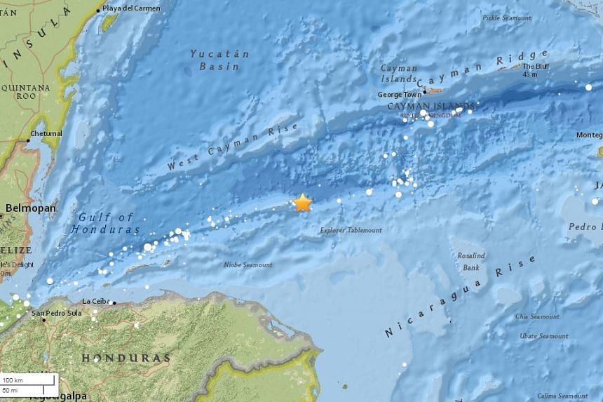 The quake's epicentre was said to be under the sea north of Honduras, and a tsunami warning has been issued.
