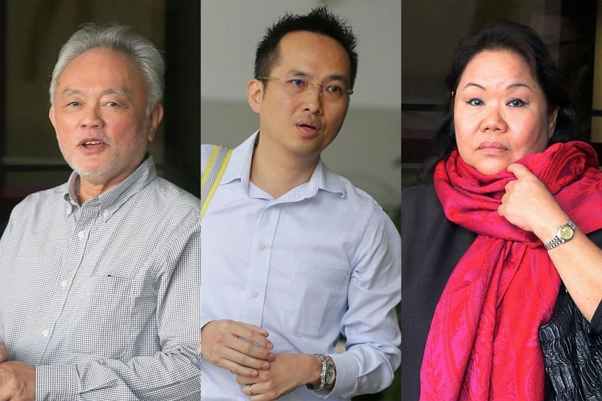 From left: Andrew Lim Ann Hoe, Chin Ming Kam and Goh Seow Mooi are accused of promoting a pyramid selling scheme known as the Maxim Trader Compensation Plan.