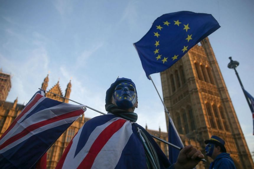 An anti-Brexit demonstrator holds a European Union flag outside the Houses of Parliament in central London on Dec 18, 2017.