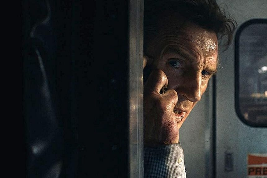 Liam Neeson stars in The Commuter as an insurance man on a train who has to find another passenger or his wife will die.