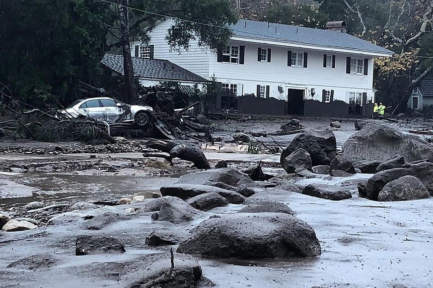 A handout photo from the Santa Barbara County Fire Department shows the aftermath of the mudslides in Montecito, California.