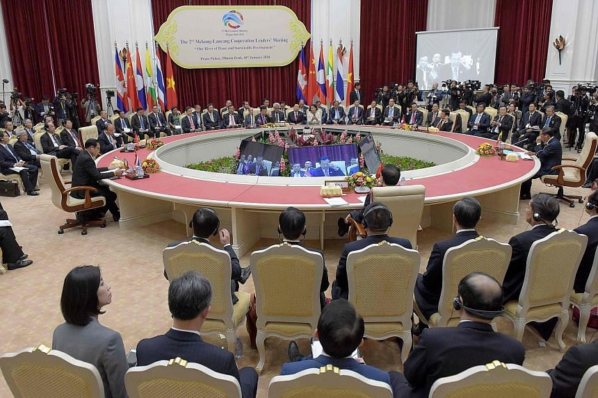 Leaders of China, Myanmar, Thailand, Vietnam, Cambodia and Laos at the Lancang-Mekong Cooperation leaders' summit in Phnom Penh yesterday. They endorsed a declaration that would, among other things, promote wide-ranging collaboration on economic deve