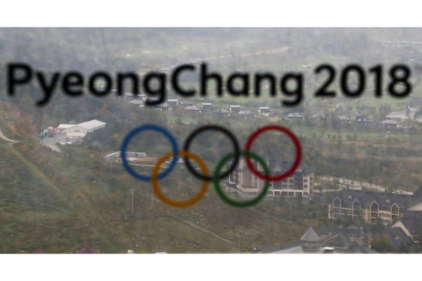 The PyeongChang 2018 Winter Olympic Games logo is seen at the the Alpensia Ski Jumping Centre in Pyeongchang, South Korea, on Sept 27, 2017.