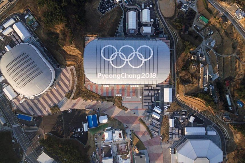 Venues for the 2018 Pyeongchang Winter Olympics including the Gangneung Ice Arena (left), Gangneung Oval (centre) and Gangneung Hockey Centre (bottom right).