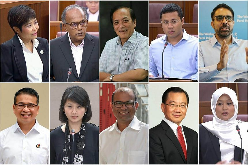 The select committee tackling the threat of fake news will be chaired by Charles Chong (top row, centre) and consists of (clockwise from top left) Chia Yong Yong, K Shanmugam, Desmond Lee, Pritam Singh, Rahayu Mahzam, Seah Kian Peng, Janil Puthuchear