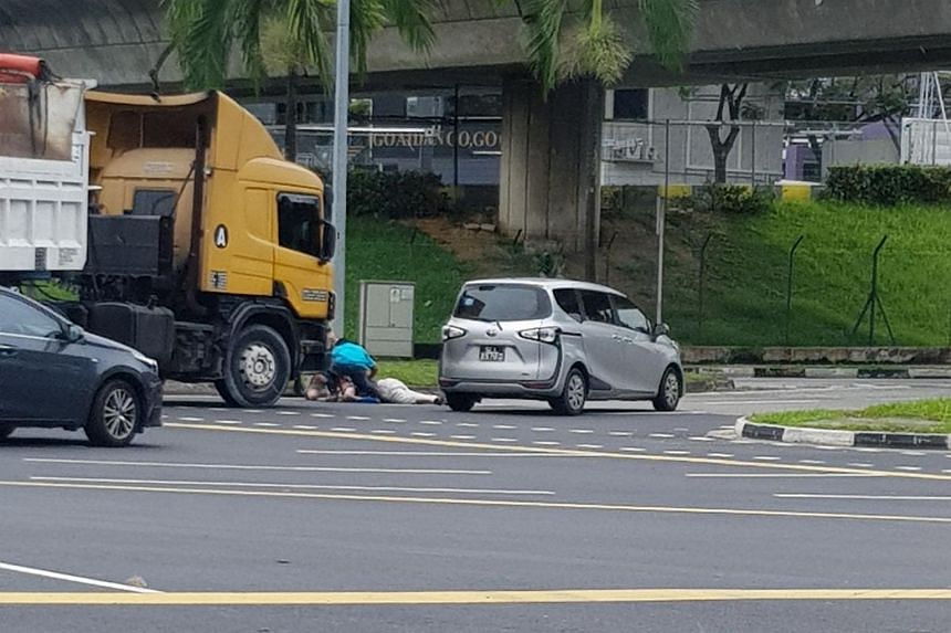 A woman was taken to Khoo Teck Puat Hospital with head injuries after getting hit by a trailer near Kranji MRT, on Jan 11, 2018.