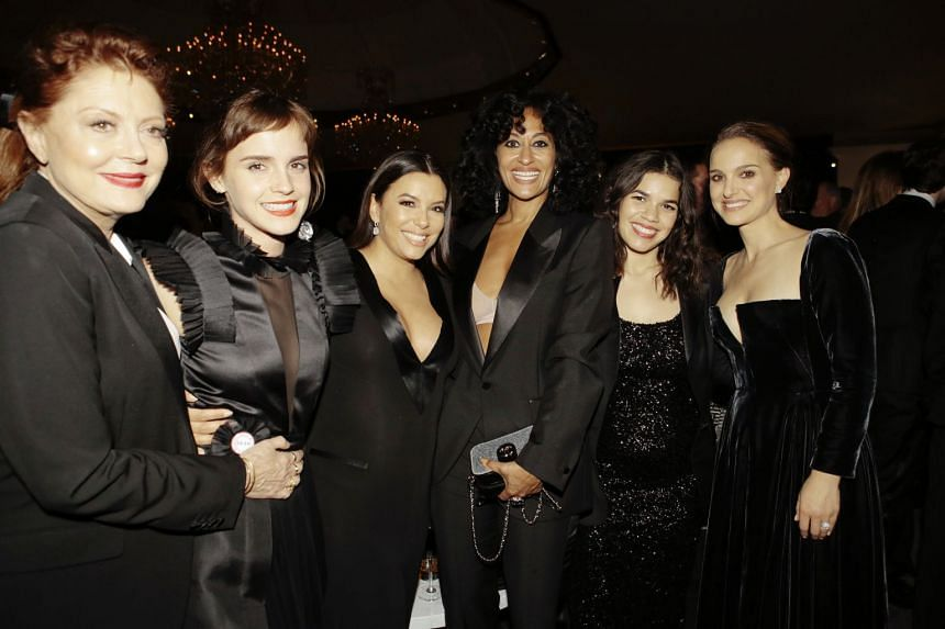 (From left) Susan Sarandon, Emma Watson, Eva Longoria, Tracee Ellis Ross, America Ferrera and Natalie Portman at the Warner Bros and InStyle Golden Globes afterparty.