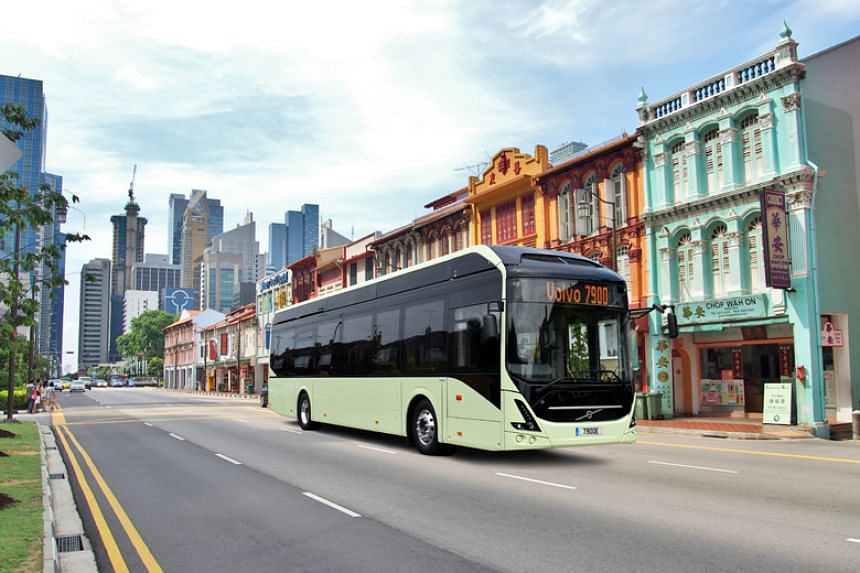 An artist impression of a Volvo electric bus.