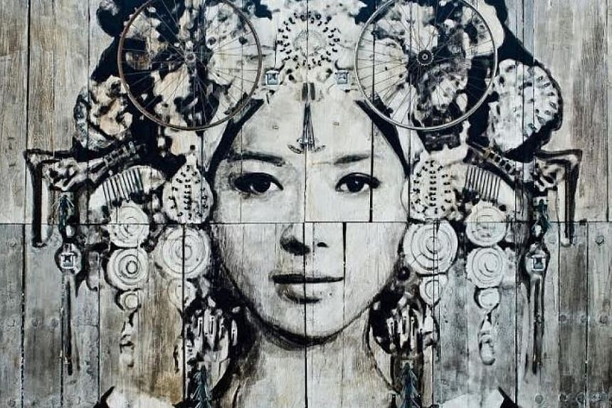 French street artist YZ's Empress Wu (2015), painted on antique doors. It is one of the works on show at the ArtScience Museum's Art From The Streets exhibition.