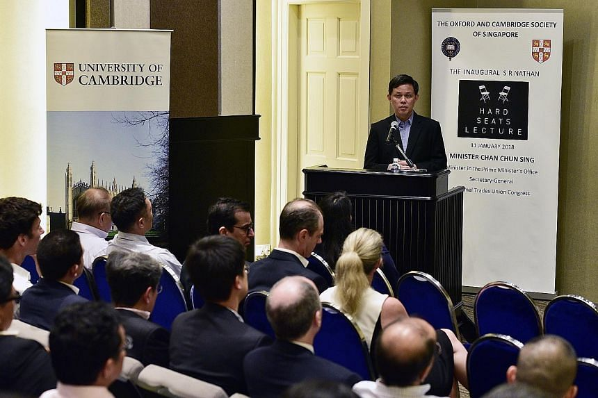Mr Chan Chun Sing at the inaugural S R Nathan Hard Seats Lecture yesterday, where he spoke on how each generation of leaders should carry out their duties.