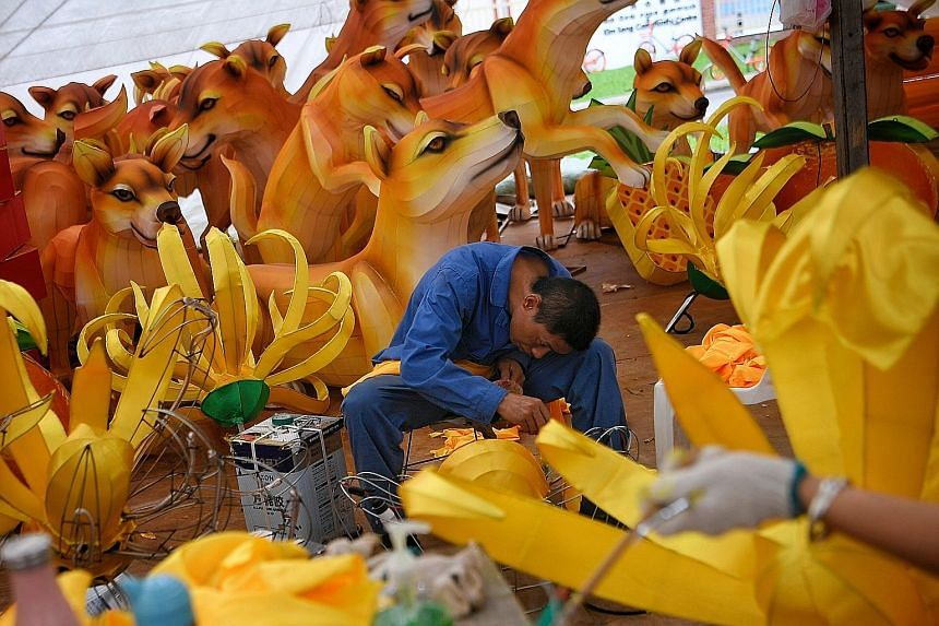 A 37-member team of craftsmen from the Zigong Zhongyi Culture Industry flew in from Sichuan late last month to begin work on giant lanterns for the Chinese New Year light-up in Chinatown to welcome the Year of the Dog. This year's design is a collabo