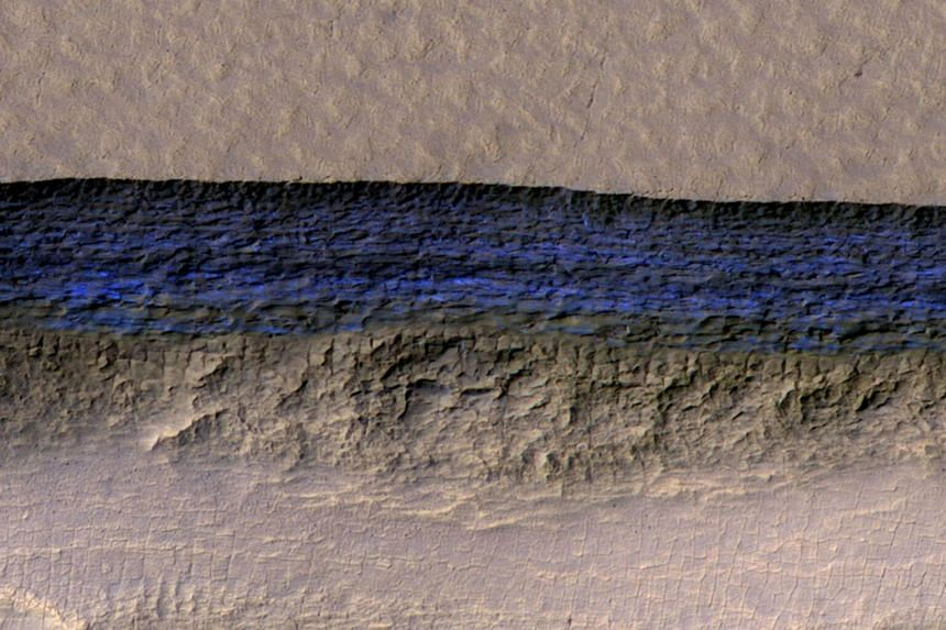 A cross-section of a thick sheet of underground ice is exposed at the steep slope that appears bright blue in this enhanced-color view of Mars seen from Nasa's Mars Reconnaissance Orbiter.