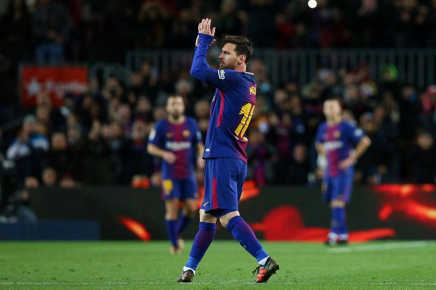 Lionel Messi grabbed the opening two goals in the 13th and 15th minutes, both finished with a sublime first touch with his left foot.