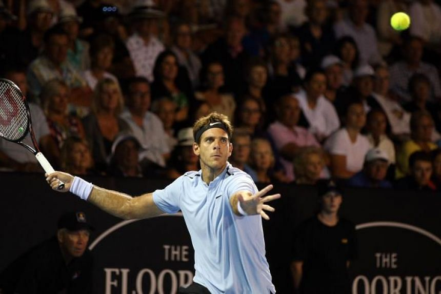 Juan Martin Del Potro of Argentina hits a return against David Ferrer of Spain during their men's singles semi-final match at the ATP Auckland Classic tennis tournament in Auckland on Jan 12, 2018.