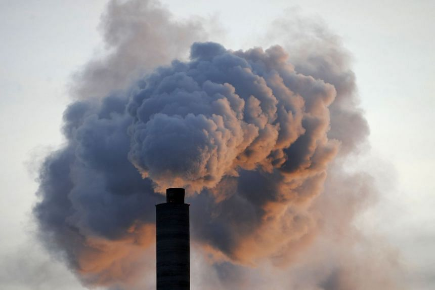 Heavy smoke billowing from a paper factory in Finland.