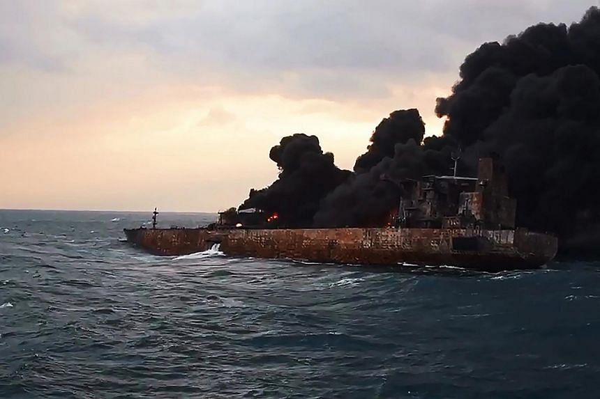 A stricken Iranian oil tanker drifted into Japan's exclusive economic zone (EEZ) on Jan 10 as strong winds pushed the burning ship away from the Chinese coast.