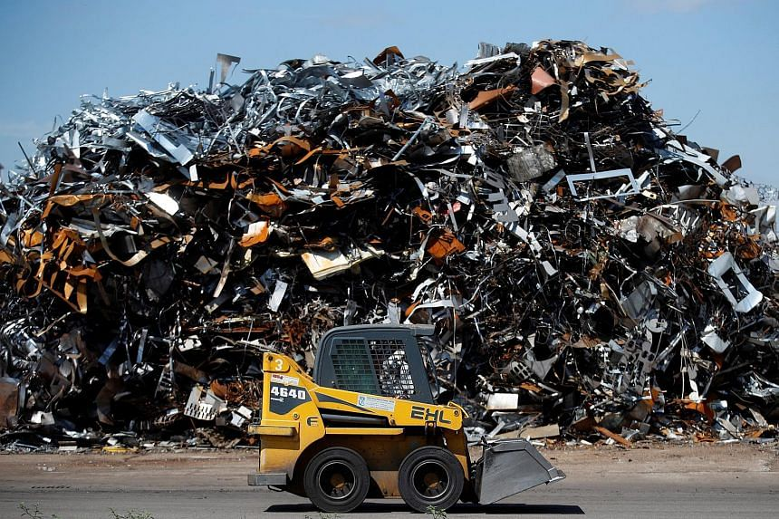 Metal scrap is stored to be recycled in the harbour of Kehl, on the Rhine river, Germany, on Aug 14, 2017.