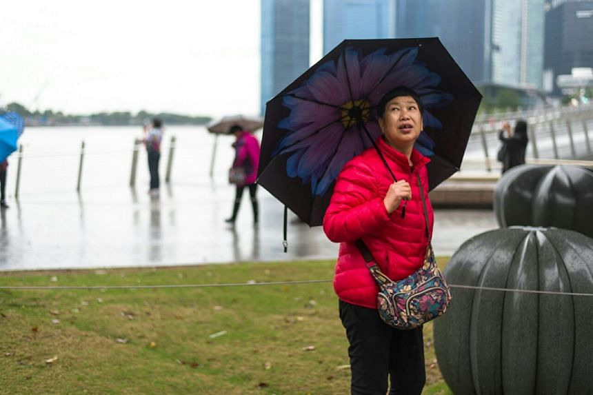 A tourist keeping herself warm at Esplanade Park on Jan 12, 2018.