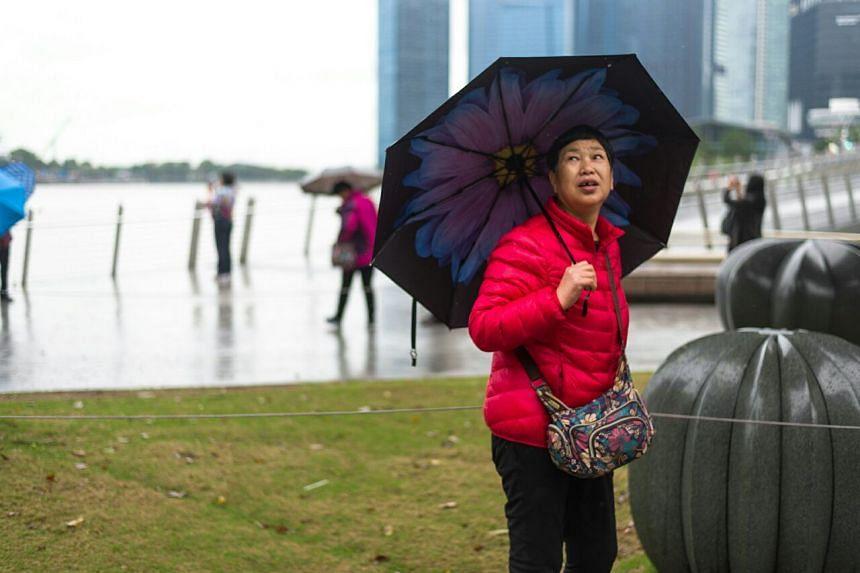 A tourist keeping herself warm at Esplanade Park on Jan 12, 2018.