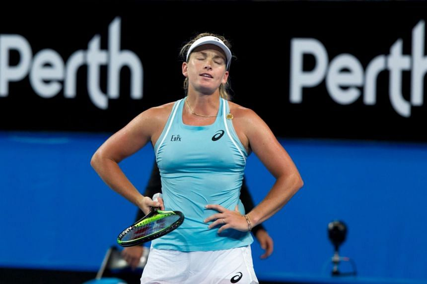 Coco Vandeweghe reacts during a match at the Hopman Cup in Perth on Jan 4, 2018.