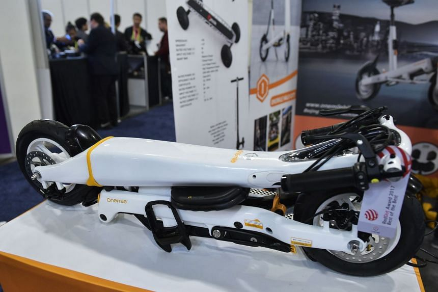 A One Mile Halo City folding electric scooter is seen on display at the Sands convention hall during CES 2018, on Jan 9.